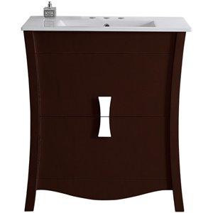 """American Imaginations Bow Vanity Set  - Single Sink - 30"""" - Brown"""