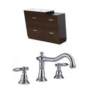 """American Imaginations Vee Vanity Set  - Single Sink - 40.5"""" - Brown"""