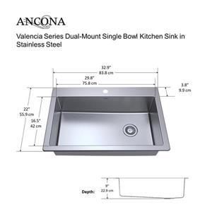"Ancona Dual-Mount Single Bowl Kitchen Sink - 33"""
