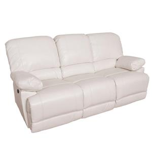 CorLiving Bonded Leather Reclining Sofa Set - 3 Pieces - White