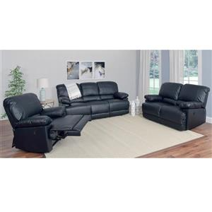 CorLiving Bonded Leather Reclining Sofa Set - 3 Pieces - Black