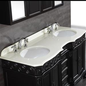 OVE Decors Trent Antique Black Vanity with Marble Top - 60''