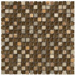 Mono Serra Group Glass Mosaic 12-in x 12-in Combo Brown 10 sq.ft. / case