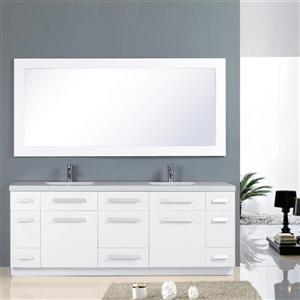"""Moscony Double Vanity with Matching Mirror - 84"""" - White"""