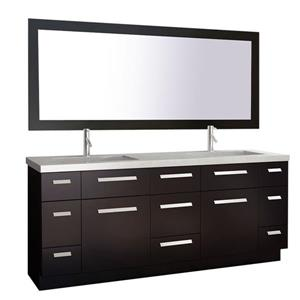 """Moscony Double Vanity with Matching Mirror - 72"""" - Espresso"""