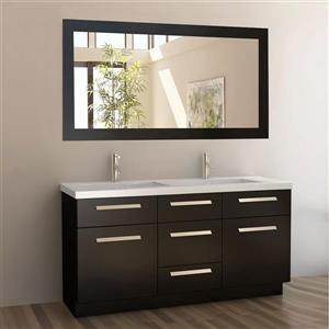 "Moscony Double Vanity with Matching Mirror - 60"" - Espresso"
