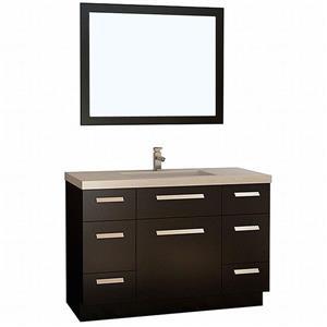 "Moscony Single Vanity with Matching Mirror - 48"" - Espresso"