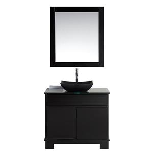 """Oasis Single Vanity with Matching Mirror - 36"""" - Espresso"""