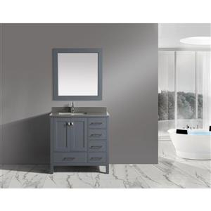 "London Single Vanity with Matching Mirror - 36"" - Gray"