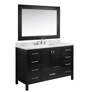 "London Single Vanity with Matching Mirror - 54"" - Espresso"