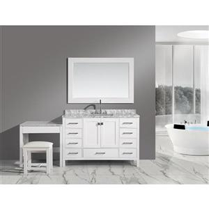 """London Single Vanity and Table with Mirror - 78"""" - White"""