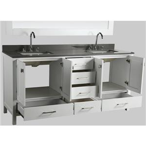 """London Double Vanity with Matching Mirror - 72"""" - White"""