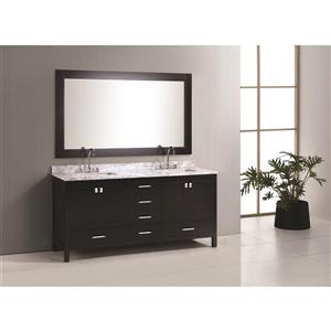 "London Double Vanity with Matching Mirror - 72"" - Espresso"