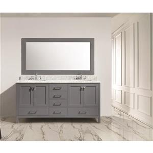 "London Double Vanity with Matching Mirror - 72"" - Gray"