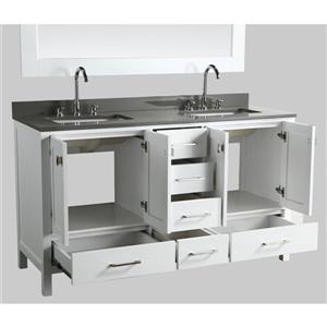 """London Double Vanity with Matching Mirror - 61"""" - White"""