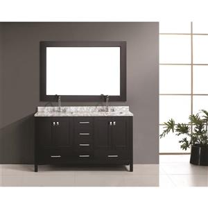 """London Double Vanity with Matching Mirror - 61"""" - Espresso"""