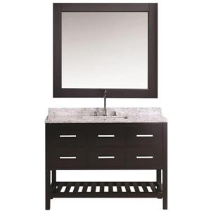 "London Single Vanity with Matching Mirror - 54"" - Espresso"