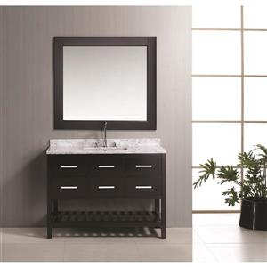 "London Single Vanity with Matching Mirror - 48"" - Espresso"