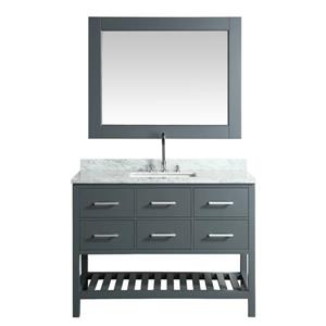"London Single Vanity with Matching Mirror - 48"" - Gray"