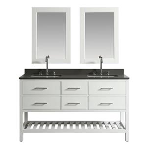 "London Double Vanity with Matching Mirror - 61"" - White"