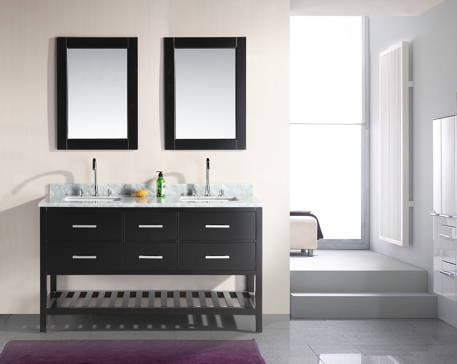 London Double Vanity With Matching Mirror 61 White Lowe S Canada