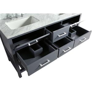 """London Double Vanity with Matching Mirror - 61"""" - Gray"""