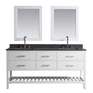 "London Double Vanity with Matching Mirror - 72"" - White"