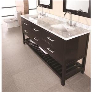 """London Double Vanity with Matching Mirror - 72"""" - Espresso"""