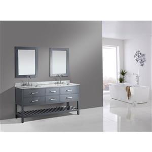 """London Double Vanity with Matching Mirror - 72"""" - Gray"""
