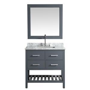 "London Single Vanity with Matching Mirror - 36"" - Gray"