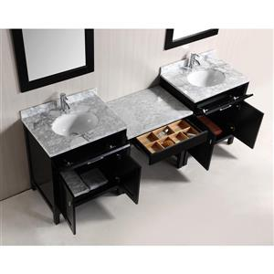 "London Two Vanities with Table and Mirror - 90"" - Espresso"