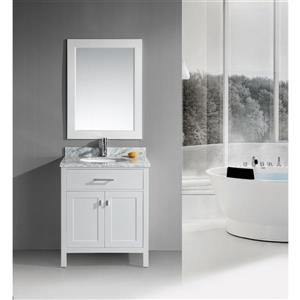 """London Single Vanity with Matching Mirror - 30"""" - White"""
