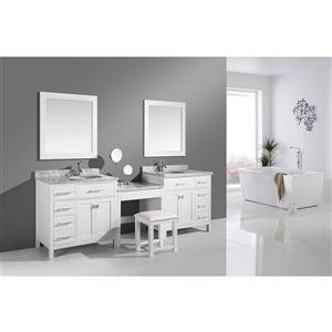 """London Two Vanities with Table and Mirror - 102"""" - White"""