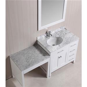"""London Single Vanity and Table with Mirror - 66"""" - White"""