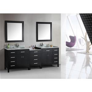 """London Double Vanity with Matching Mirror - 92"""" - Espresso"""