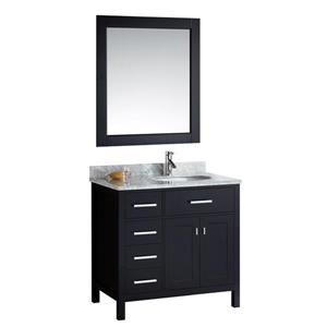 "London Single Vanity with Matching Mirror - 36"" - Espresso"