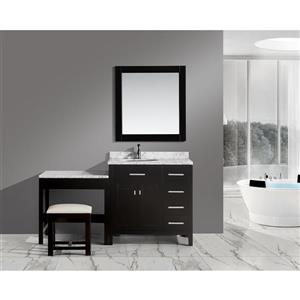 """London Vanity and Make-Up Table with Mirror - 66"""" - Espresso"""