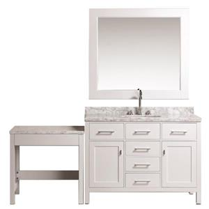 """London Vanity and Make-Up Table with Mirror - 78"""" - White"""