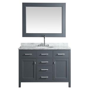 "London Single Vanity with Matching Mirror - 48"" - Gray"