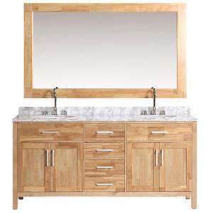 "London Double Vanity with Matching Mirror - 72"" - Honey Oak"
