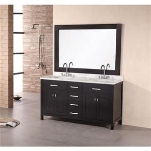 "London Double Vanity with Matching Mirror - 61"" - Espresso"