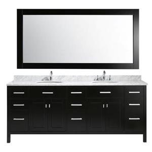 """London Double Vanity with Matching Mirror - 84"""" - Espresso"""