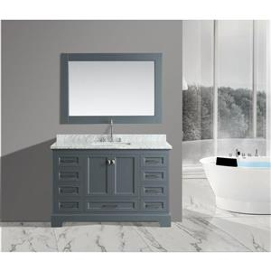 """Omega Single Vanity with Matching Mirror - 54"""" - Gray"""