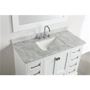 """Omega Single Vanity with Matching Mirror - 48"""" - White"""