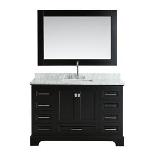"""Omega Single Vanity with Matching Mirror - 54"""" - Espresso"""