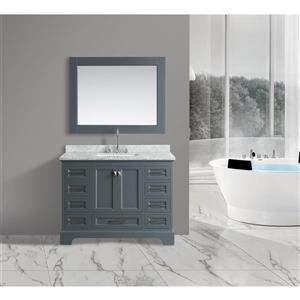 "Omega Single Vanity with Matching Mirror - 48"" - Gray"