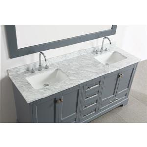 """Omega Double Vanity with Matching Mirror - 72"""" - Gray"""