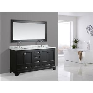 """Omega Double Vanity with Matching Mirror - 72"""" - Espresso"""