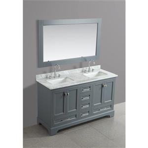 """Omega Double Vanity with Matching Mirror - 61"""" - Gray"""