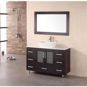 "Stanton Single Vanity with Matching Mirror - 48"" - Espresso"